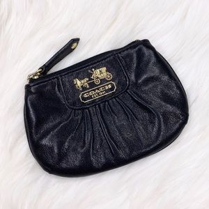 Coach Black Leather Pleated Zip Coin Purse Wallet